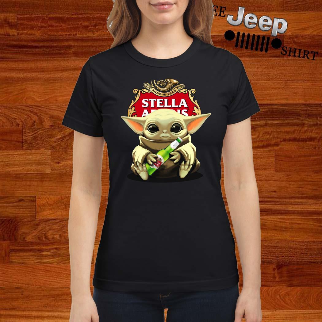 Baby Yoda Hug Stella Artois Ladies Shirt