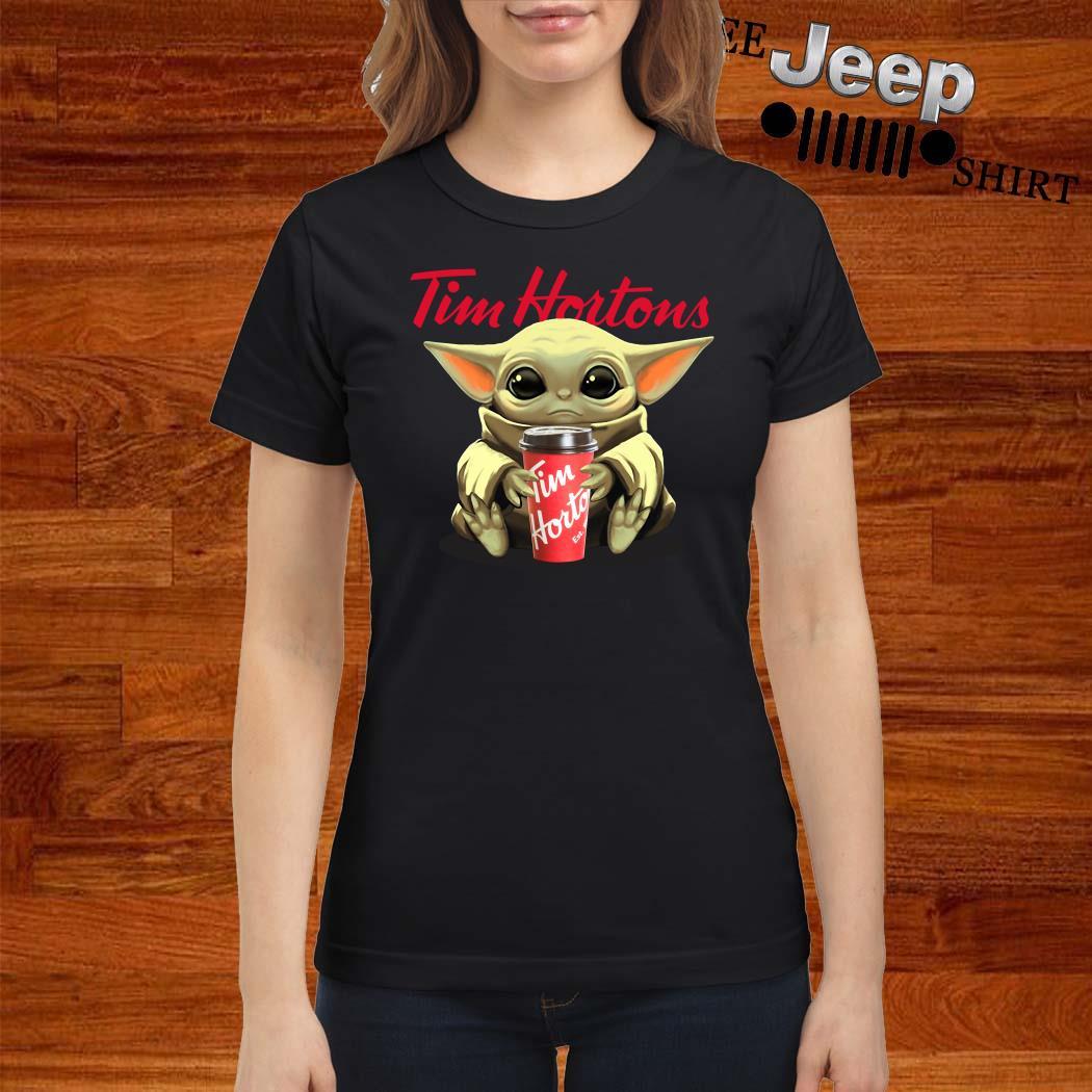 Baby Yoda Hug Tim Hortons Ladies Shirt