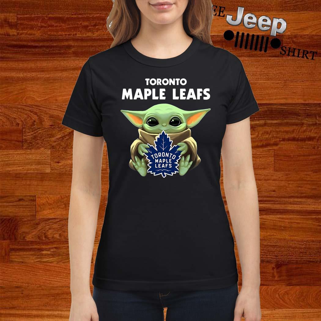Baby Yoda Hug Toronto Maple Leafs Ladies Shirt