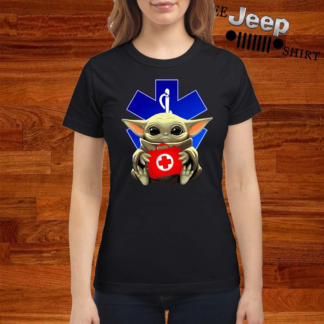Baby Yoda And Paramedic Ladies Shirt