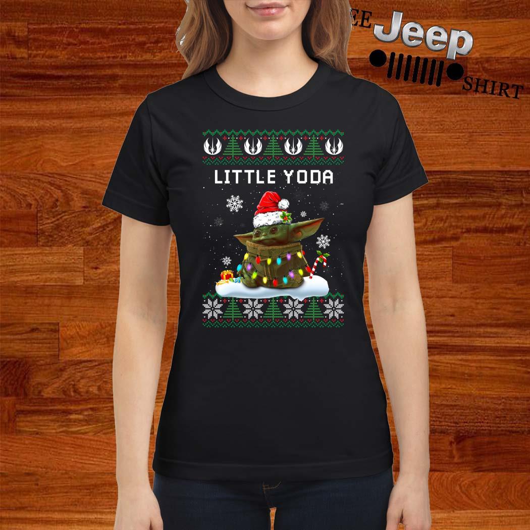 Baby Yoda Santa Little Yoda Ugly Christmas Ladies Shirt
