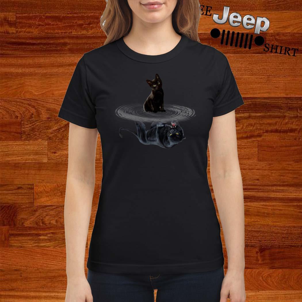 Black Cat Water Reflection Mirror Black Panther Ladies Shirt