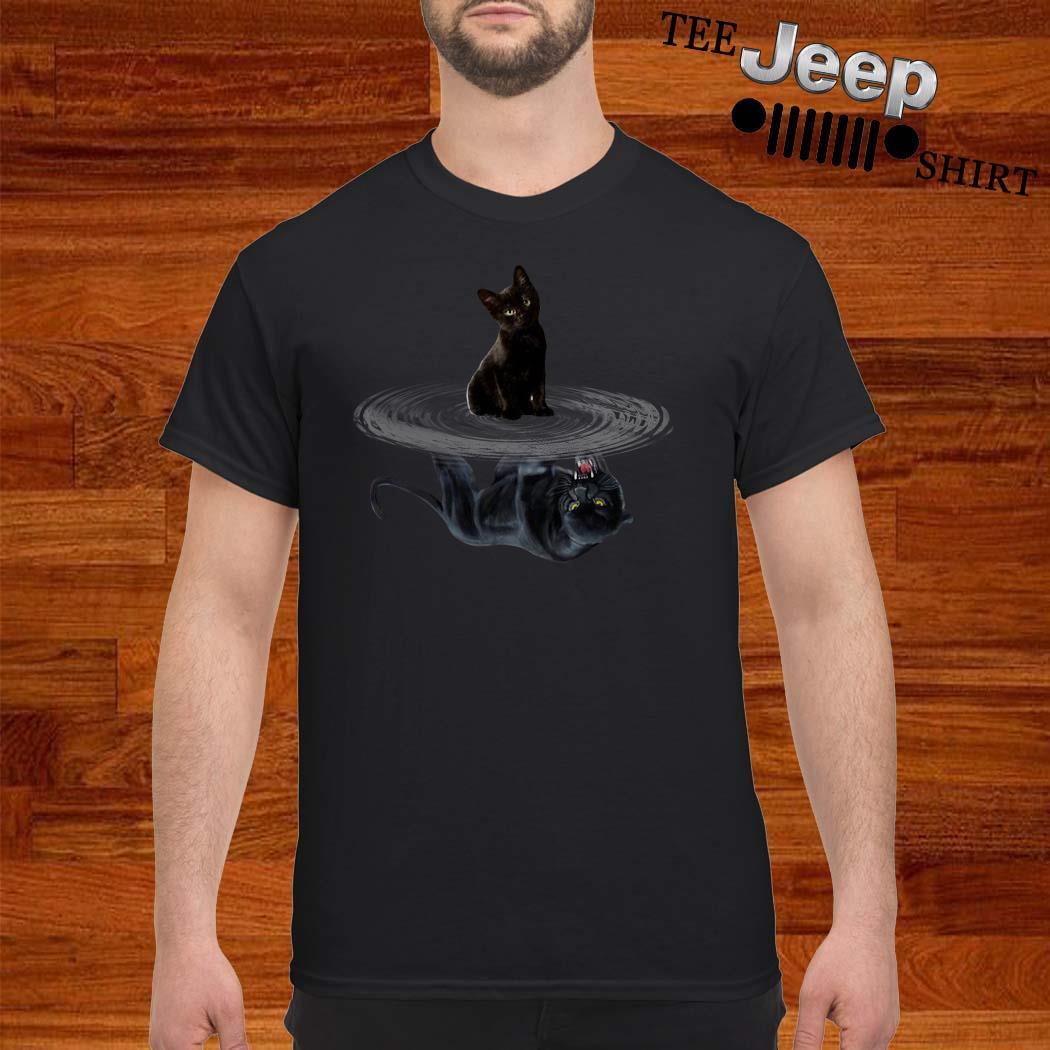 Black Cat Water Reflection Mirror Black Panther Shirt