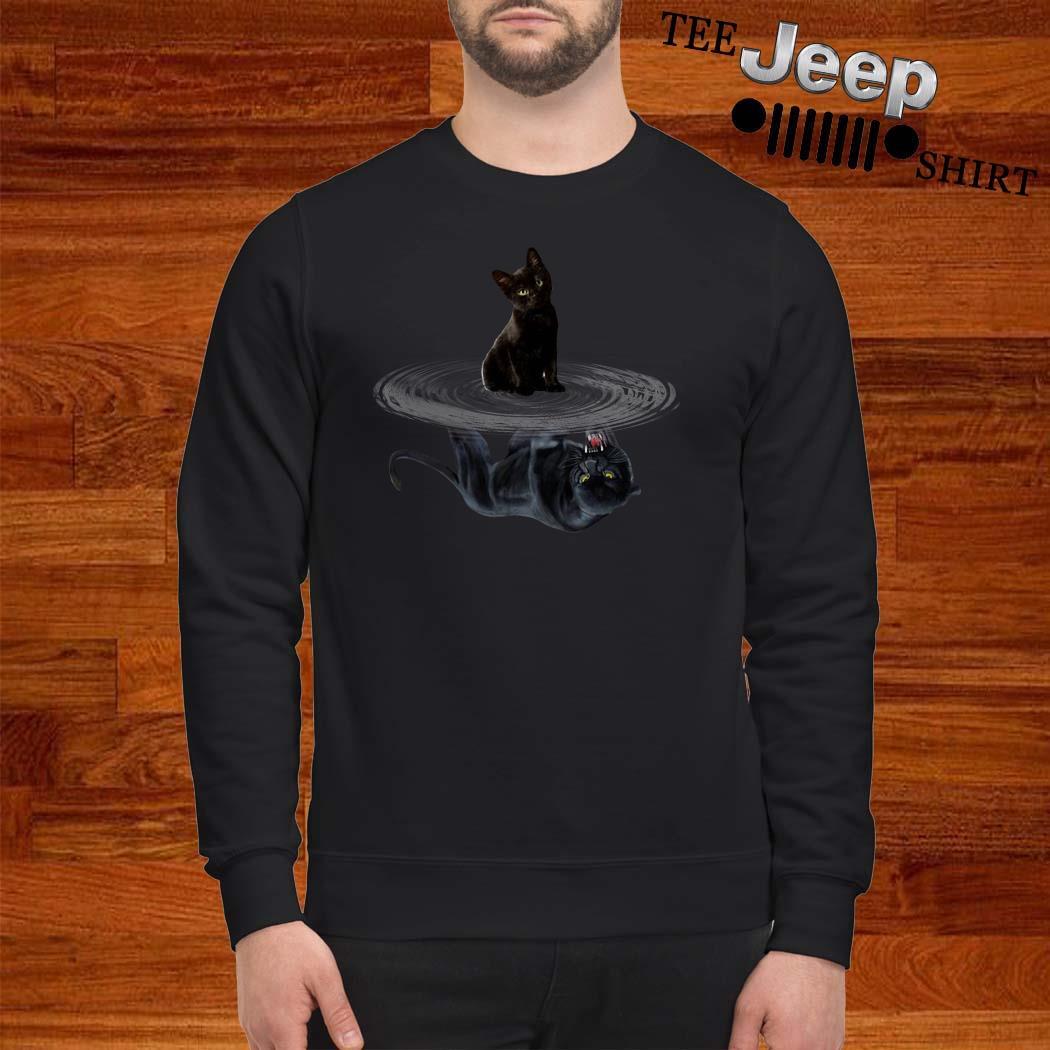Black Cat Water Reflection Mirror Black Panther Sweatshirt