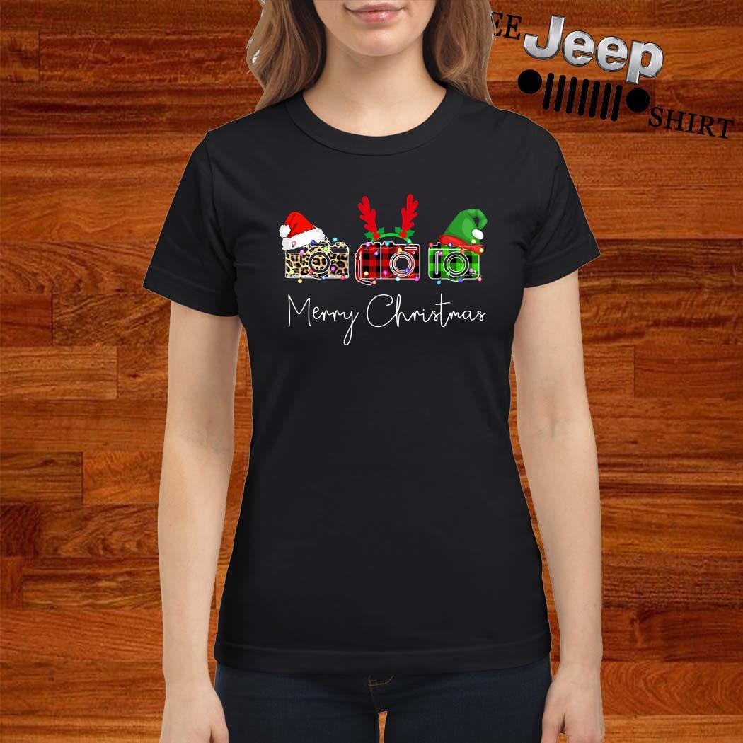 Cameras Leopard Plaid Printed Merry Christmas Ladies Shirt