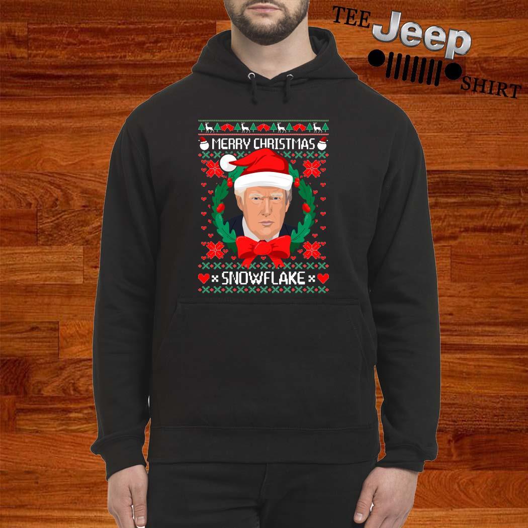 Donald Trump Merry Christmas Snowflake Ugly Christmas Hoodie