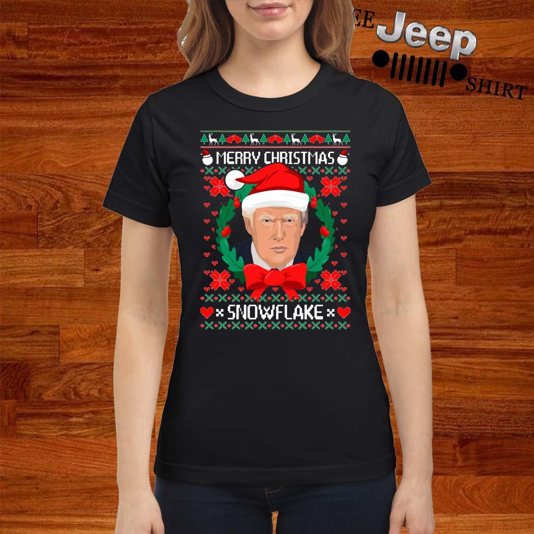 Donald Trump Merry Christmas Snowflake Ugly Christmas Ladies Shirt