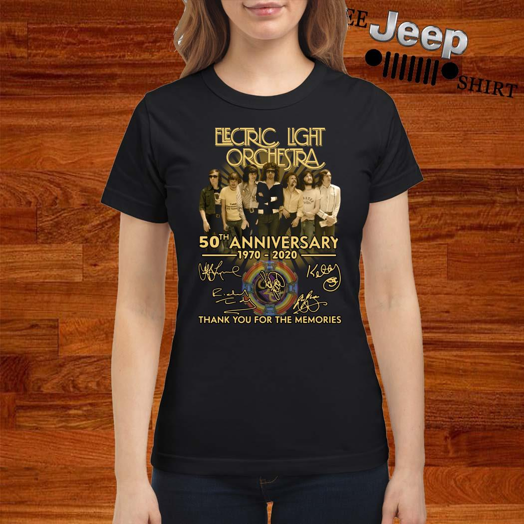Electric Light Orchestra 50th Anniversary 1970-2020 Thank You For The Memories Ladies Shirt