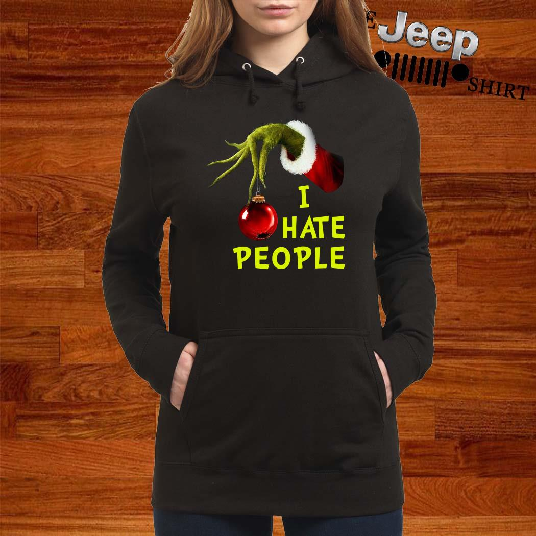 Grinch Hand Holding I Hate People Christmas Hoodie