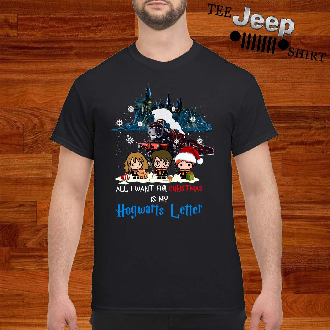 Harry Potter Characters Chibi All I Want For Christmas Is My Hogwarts Letter Shirt