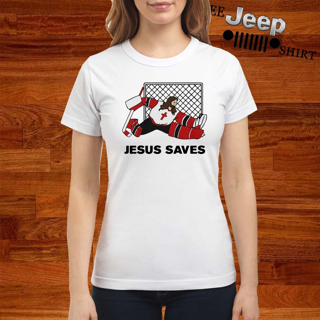 Hockey Jesus Saves Ladies Shirt