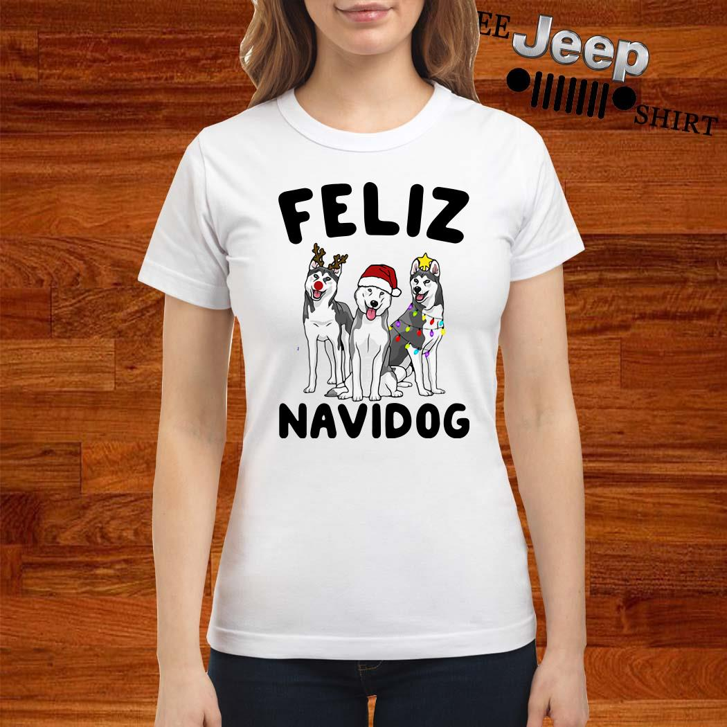 Husky Feliz Navidog Christmas Ladies Shirt