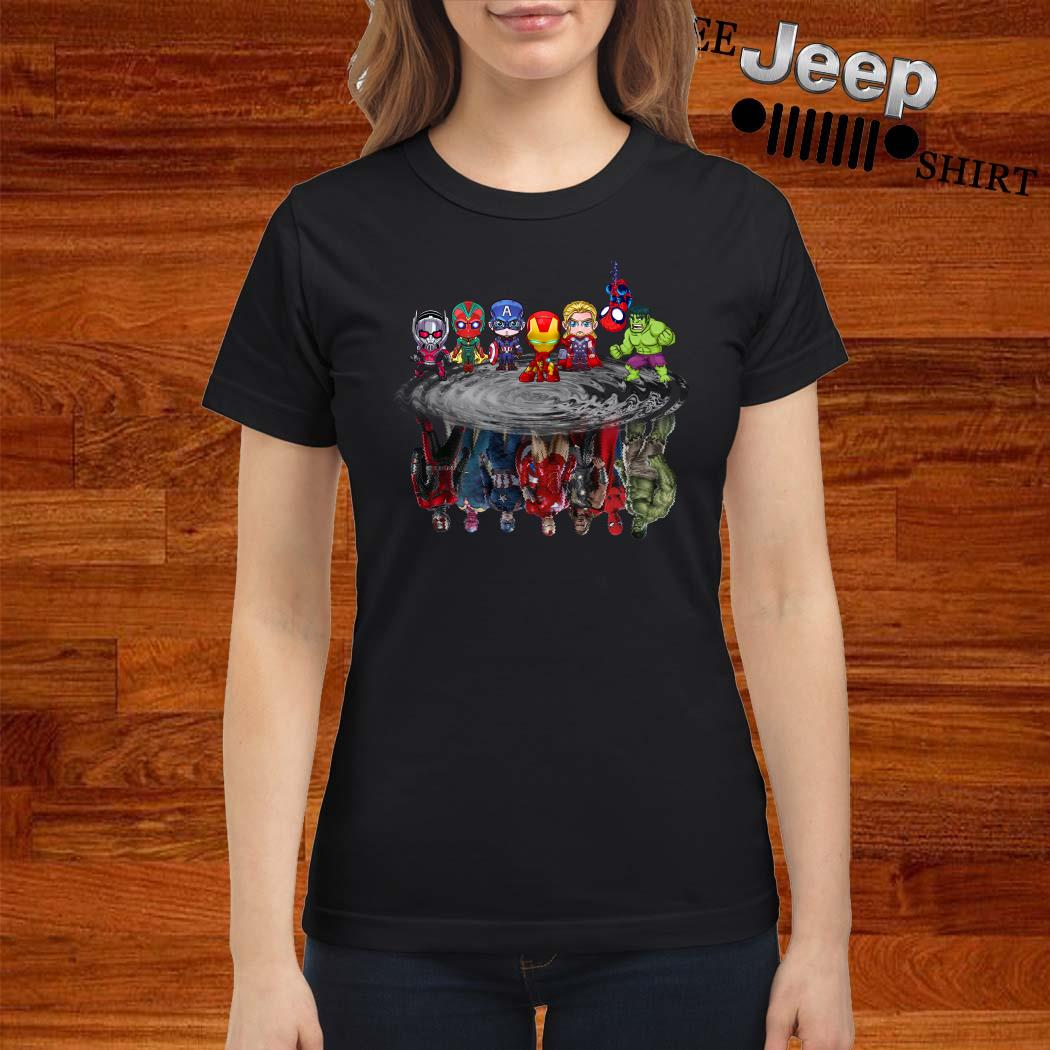 Marvel Avengers Chibi Characters Water Reflection Mirror Ladies Shirt