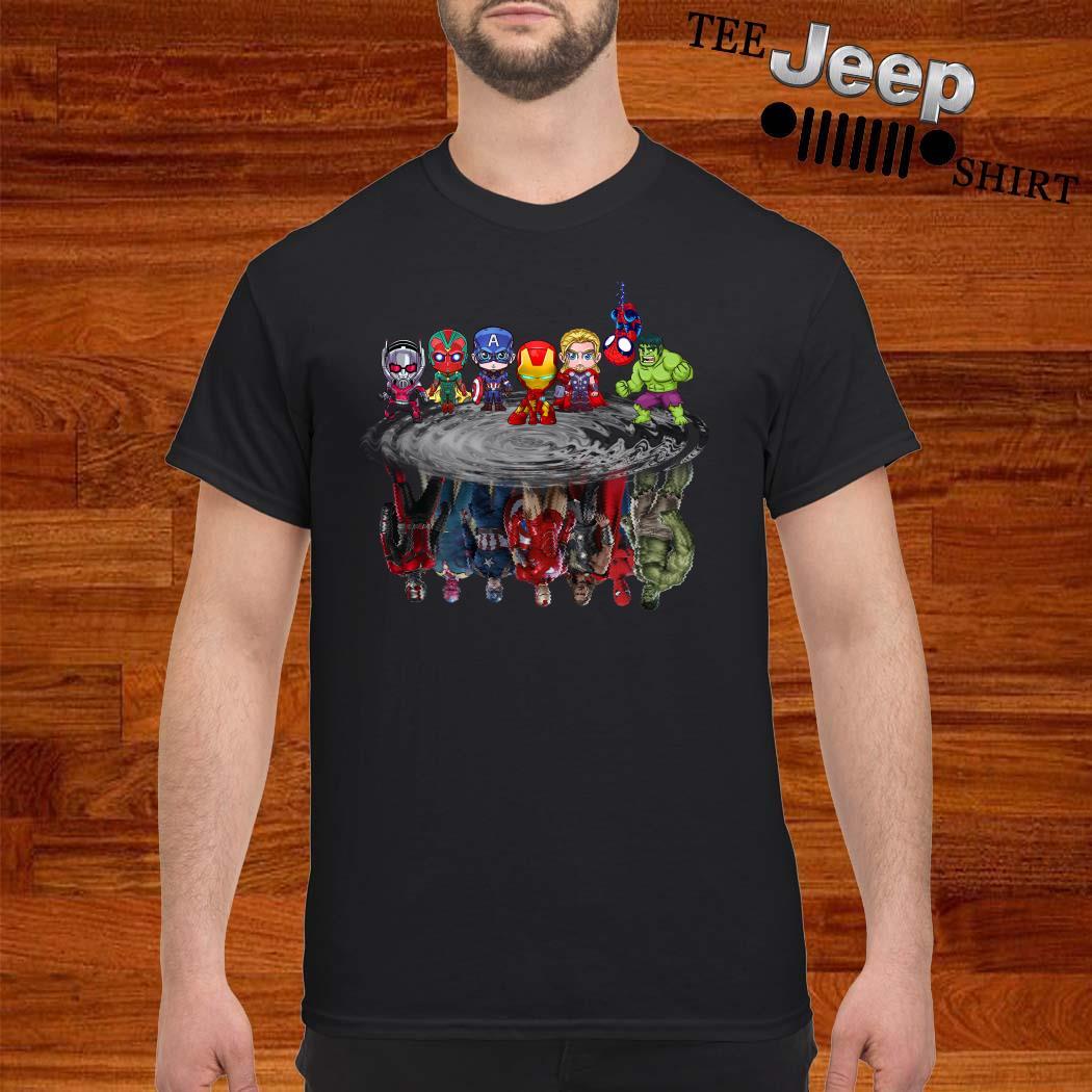 Marvel Avengers Chibi Characters Water Reflection Mirror Shirt