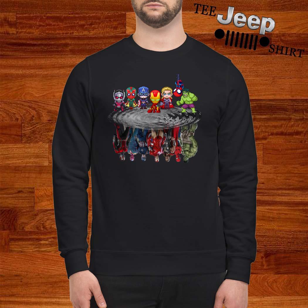 Marvel Avengers Chibi Characters Water Reflection Mirror Sweatshirt