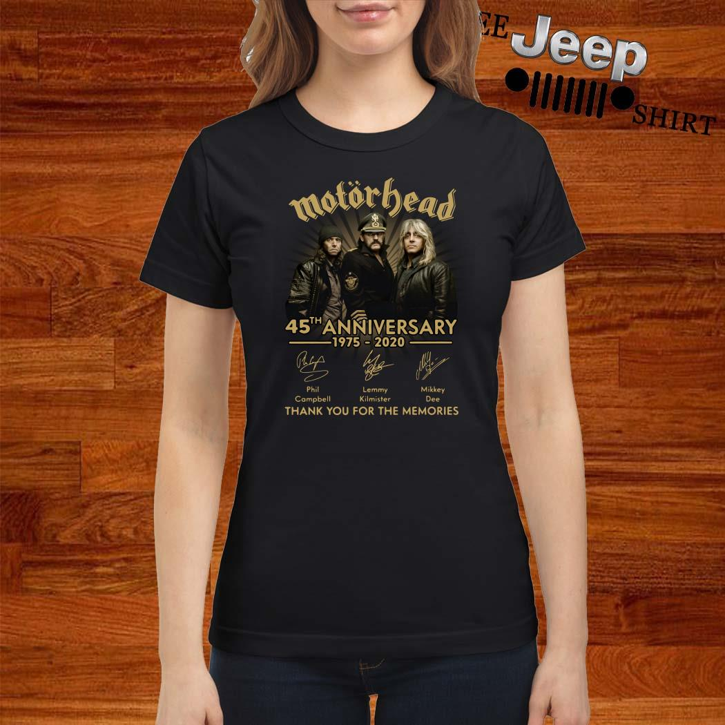 Motorhead 45th Anniversary 1975-2020 Signatures Thank You For The Memories Ladies Shirt