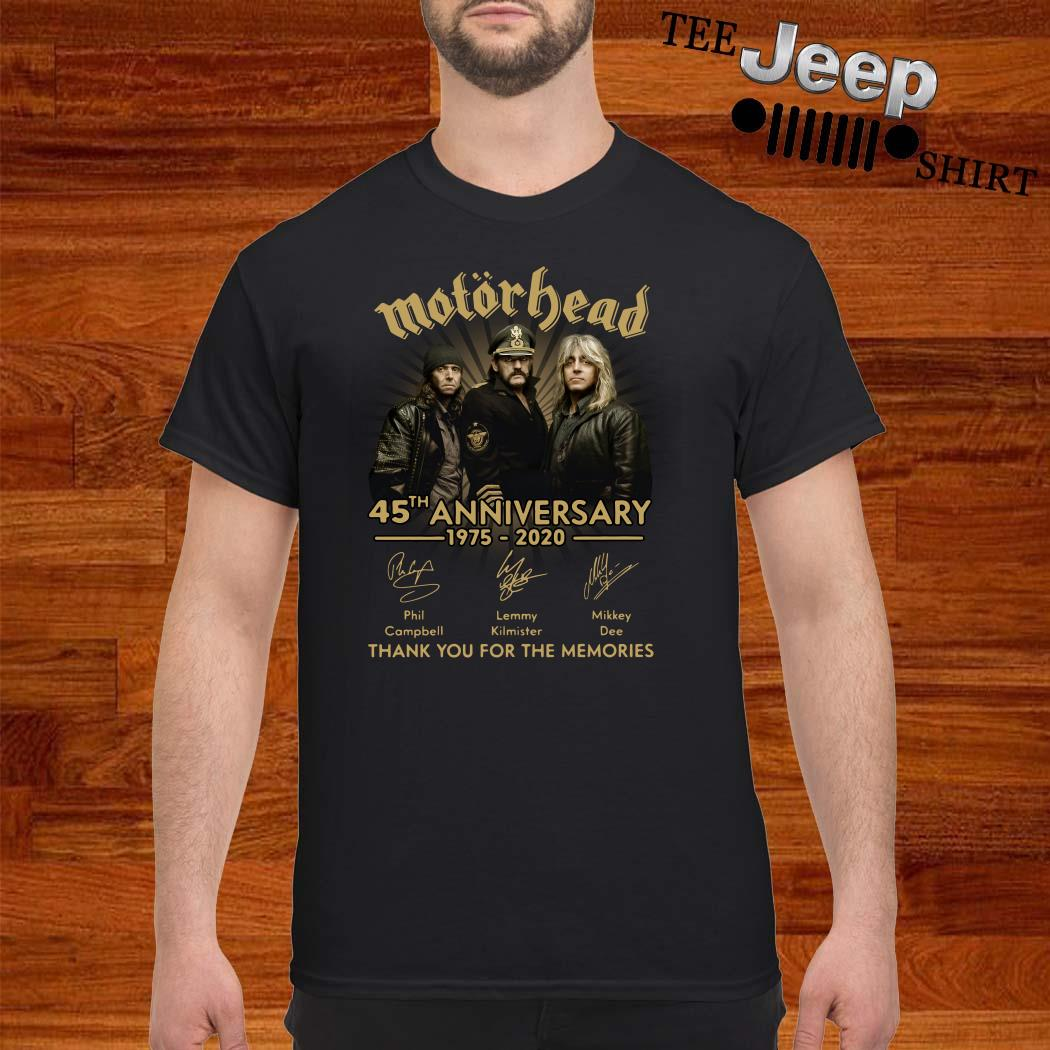 Motorhead 45th Anniversary 1975-2020 Signatures Thank You For The Memories Shirt