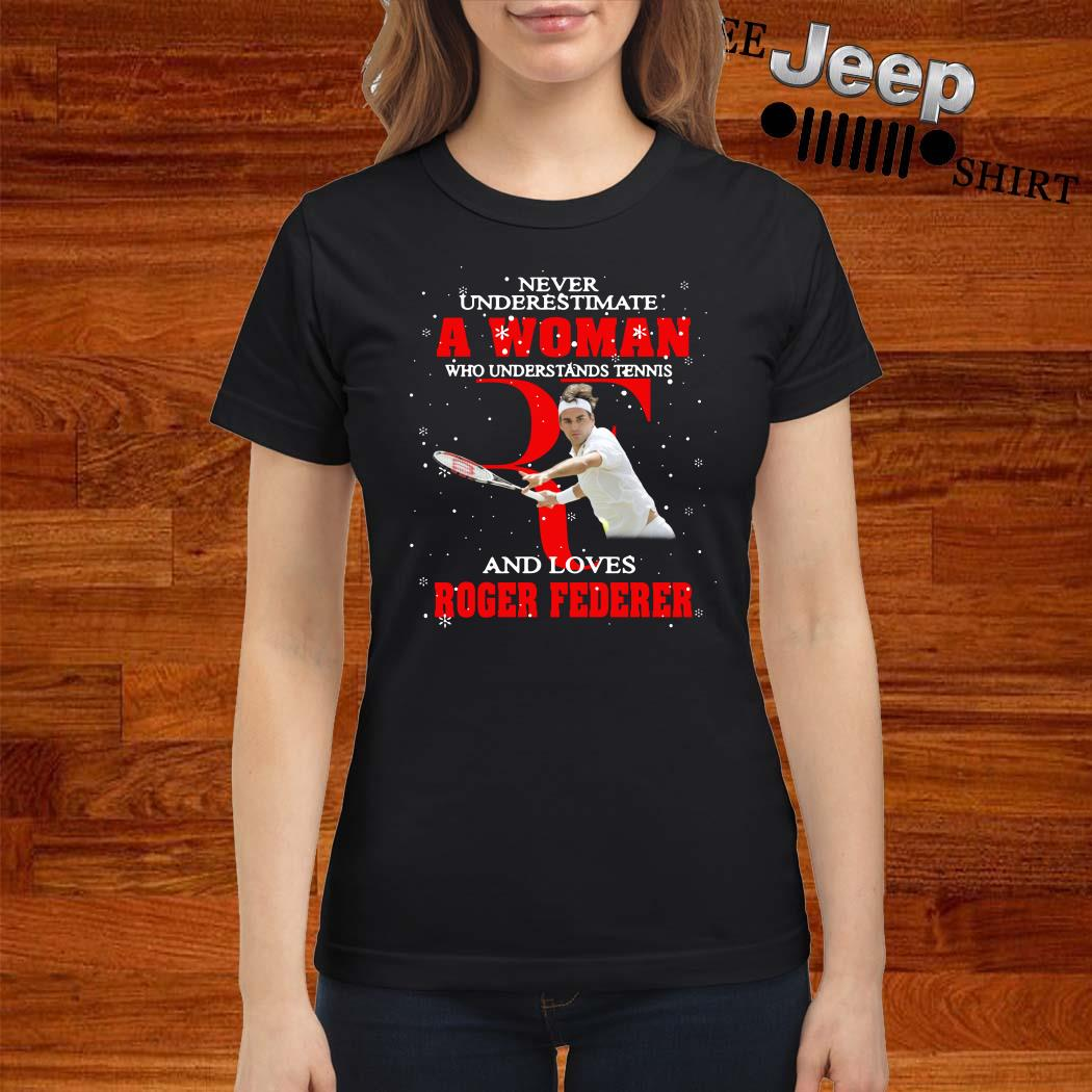 Never Underestimate A Woman Who Understands Tennis And Love Roger Federer Ladies Shirt