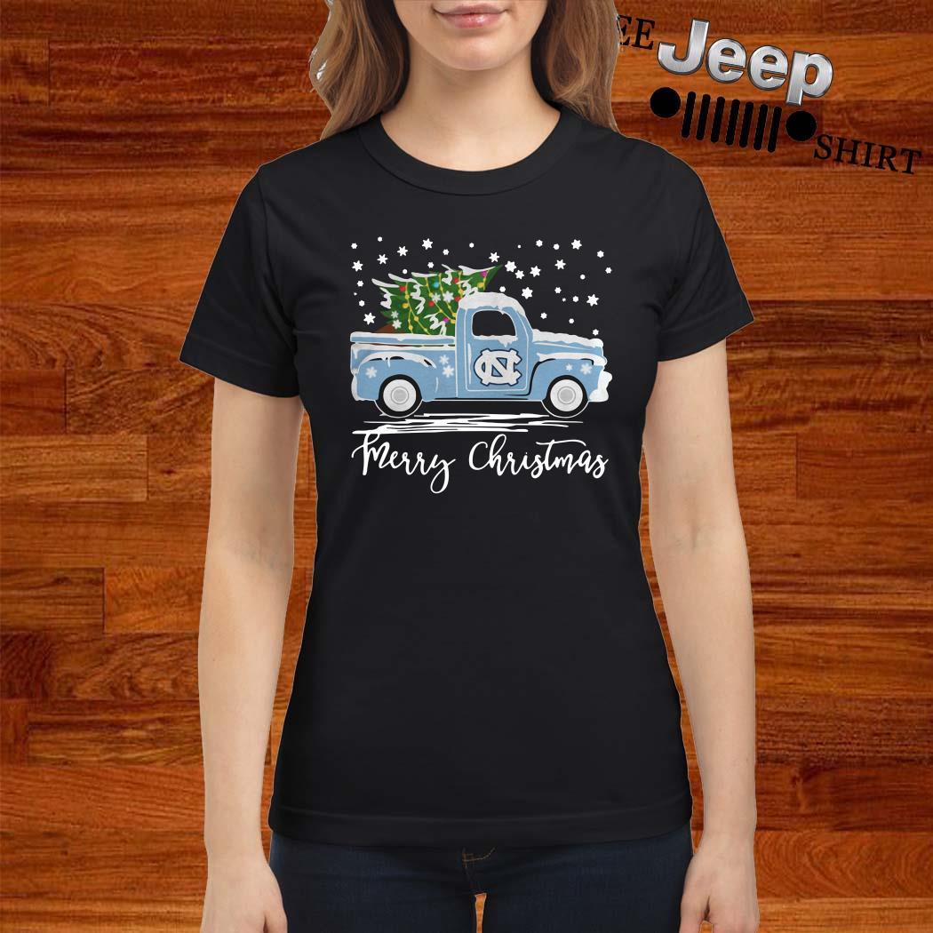 North Carolina Tar Heels Pickup Truck Merry Christmas Ladies Shirt