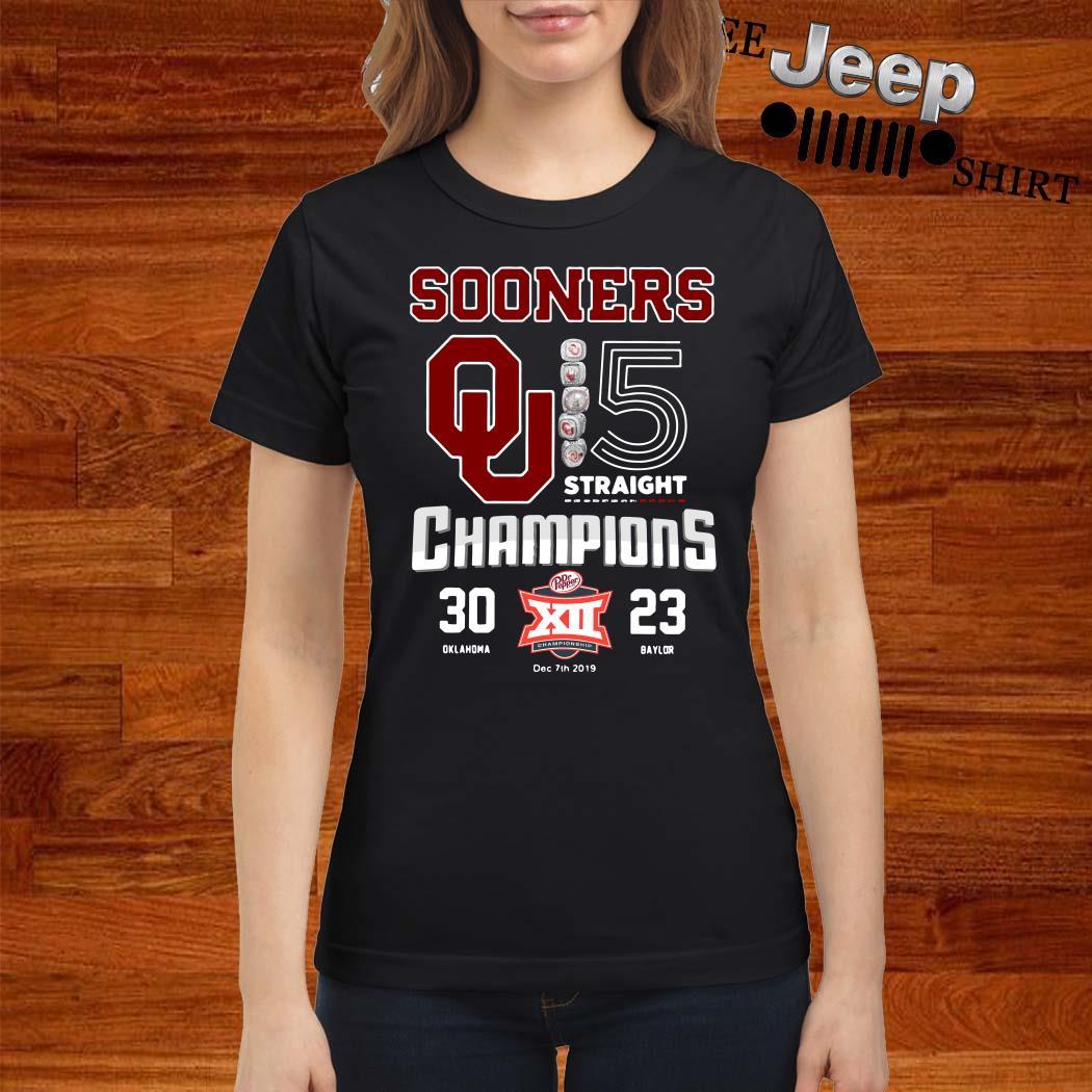 Oklahoma Sooners 5 Straight Champions Ladies Shirt