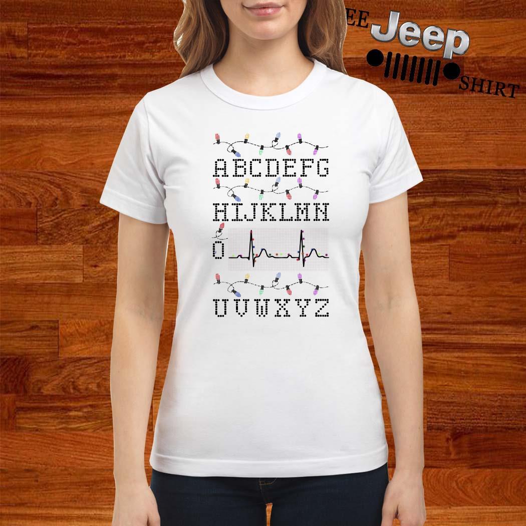 PQRST Nurse Alphabet Heartbeat Christmas Lights Ladies Shirt