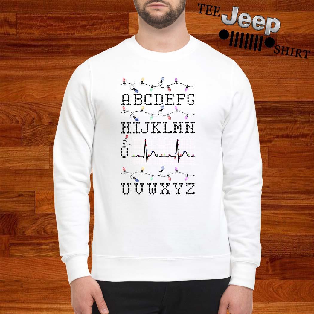 PQRST Nurse Alphabet Heartbeat Christmas Lights Sweatshirt