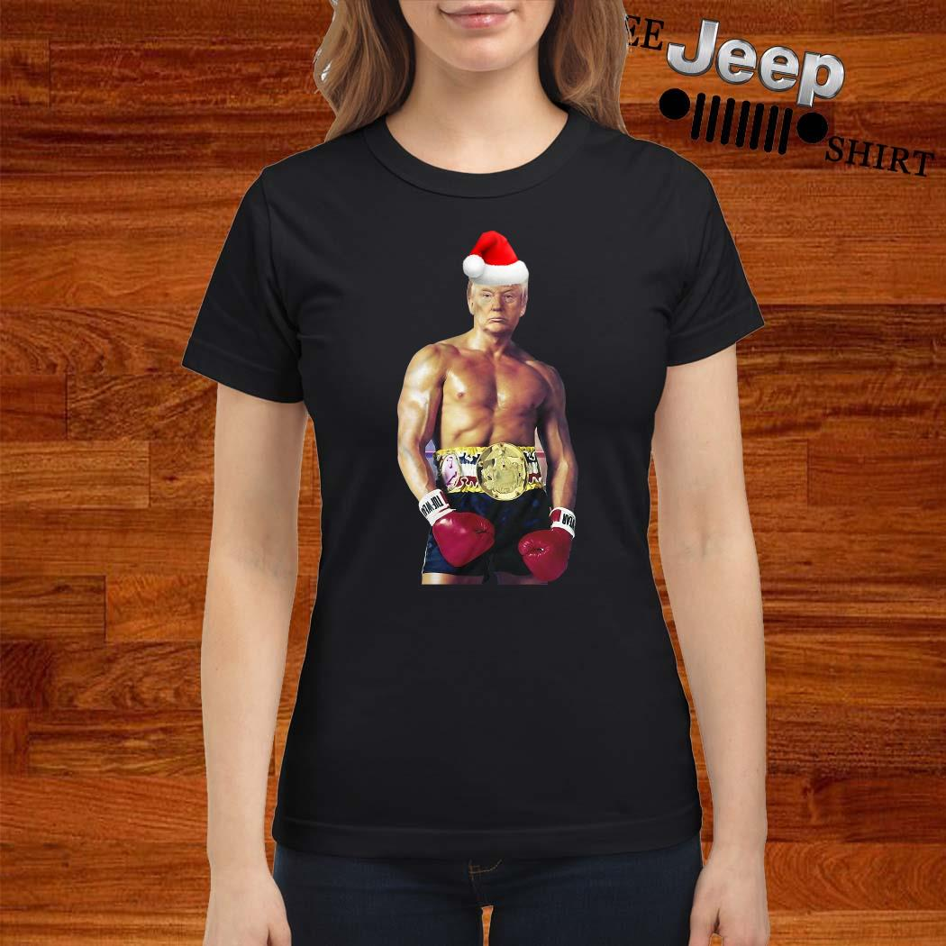 Santa Donald Trump Boxing Heavyweight Christmas Ladies Shirt