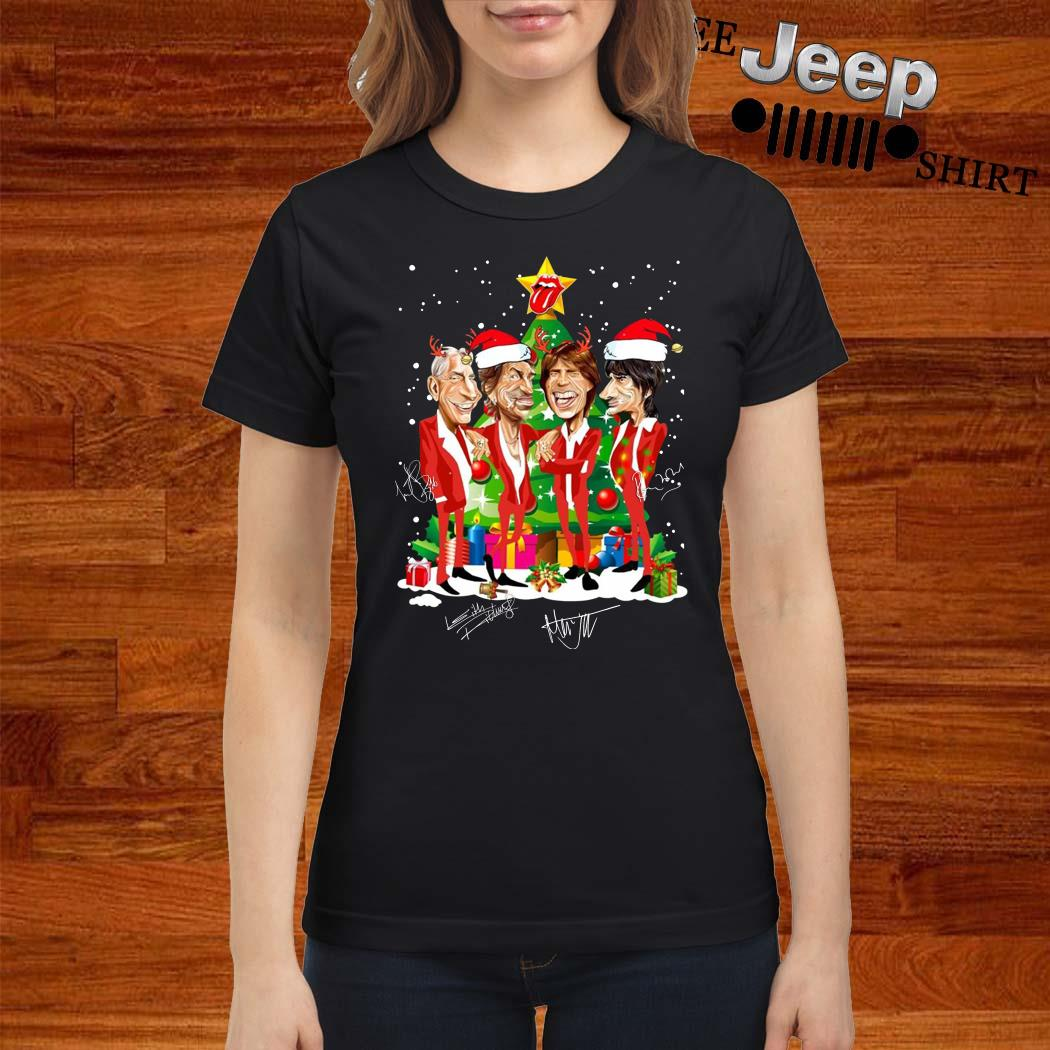 Santa The Rolling Stones Christmas Tree Signatures Ladies Shirt
