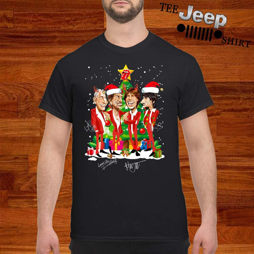 Santa The Rolling Stones Christmas Tree Signatures Shirt