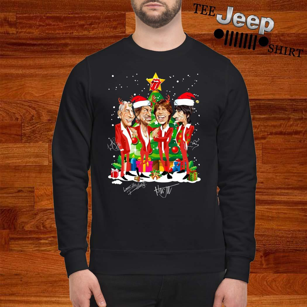 Santa The Rolling Stones Christmas Tree Signatures Sweatshirt