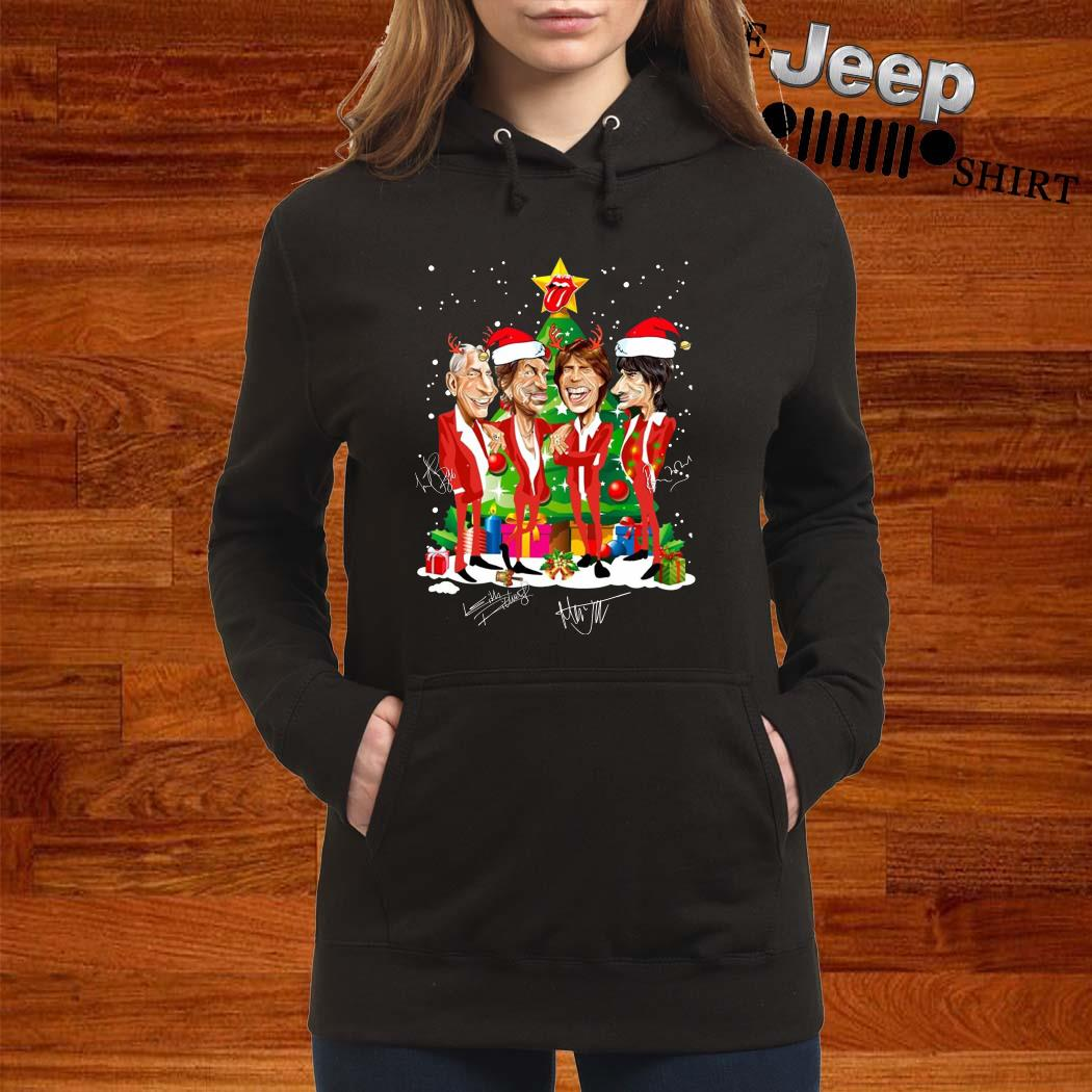 Santa The Rolling Stones Christmas Tree Signatures Hoodie
