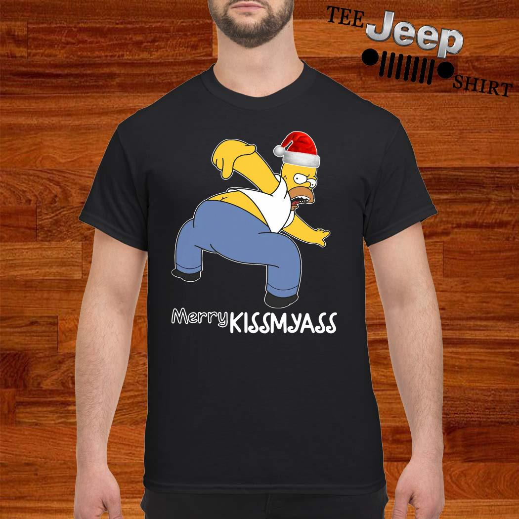 Simpsons Santa Merry Kissmyass Shirt