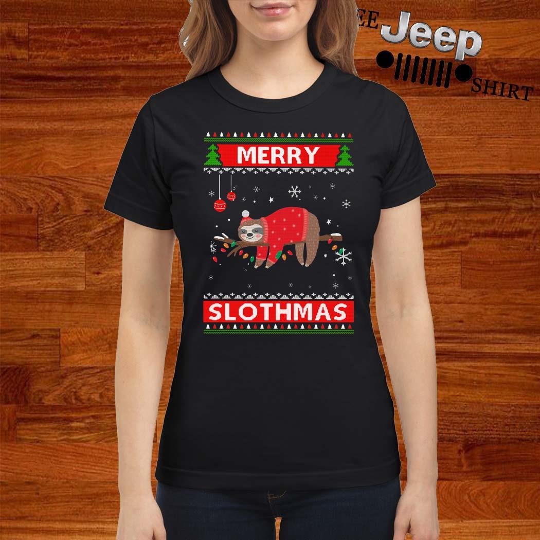 Sloth Merry Slothmas Ugly Christmas Ladies Shirt