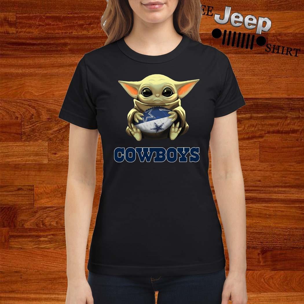 Star Wars Baby Yoda Hug Dallas Cowboys Ladies Shirt