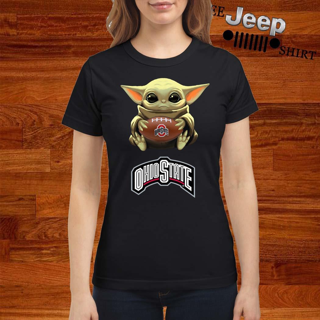 Star Wars Baby Yoda Hug Ohio State Buckeyes Ladies Shirt