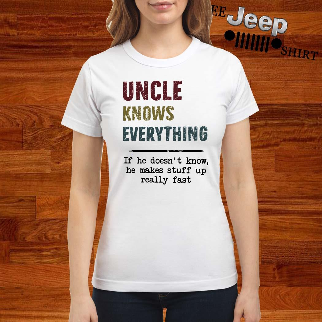 Uncle Knows Everything If He Doesn't Know He Makes Stuff Up Really Fast Ladies Shirt