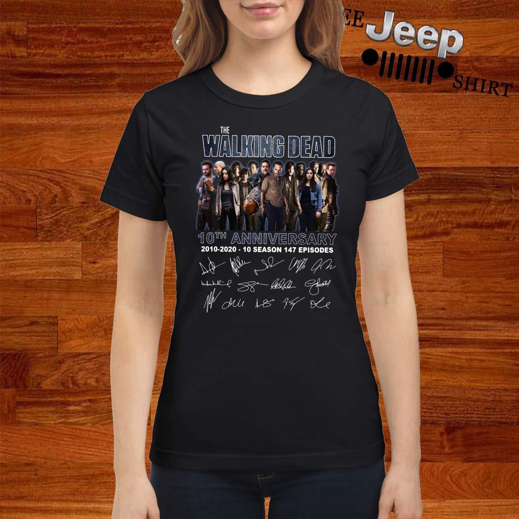 The Walking Dead 10th Anniversary 2010-2020 10 Season 147 Episodes Signatures Ladies Shirt