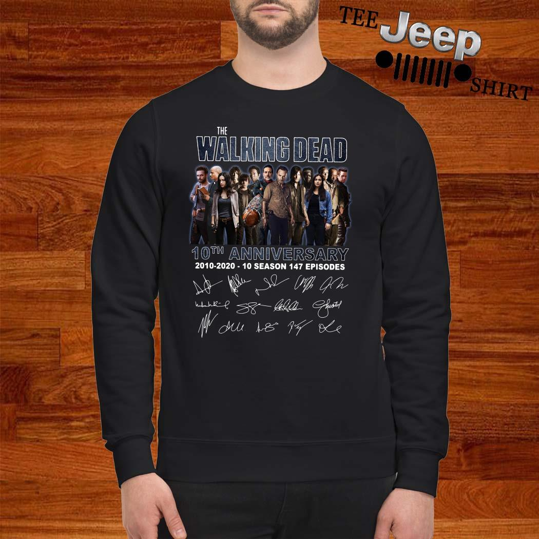 The Walking Dead 10th Anniversary 2010-2020 10 Season 147 Episodes Signatures Sweatshirt
