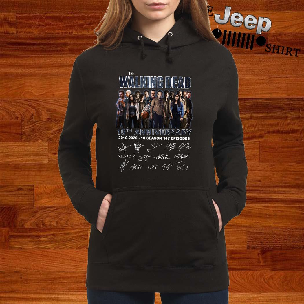 The Walking Dead 10th Anniversary 2010-2020 10 Season 147 Episodes Signatures Hoodie