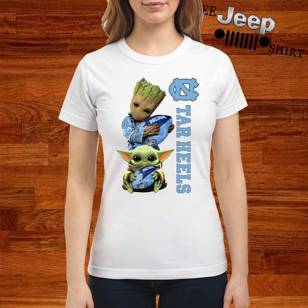 Baby Groot And Baby Yoda Hug Carolina Tar Heels Ladies Shirt