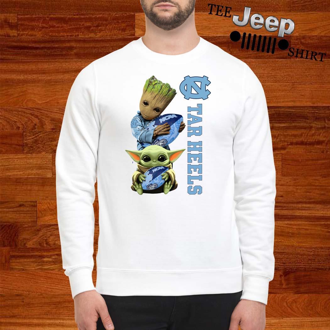 Baby Groot And Baby Yoda Hug Carolina Tar Heels Sweatshirt