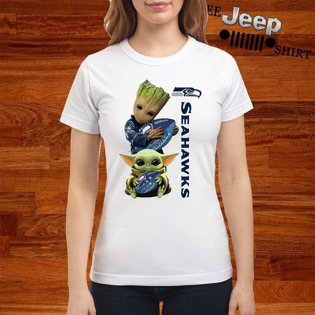 Baby Groot And Baby Yoda Hug Seahawks Ladies Shirt