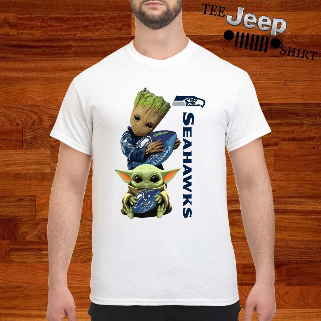 Baby Groot And Baby Yoda Hug Seahawks Shirt