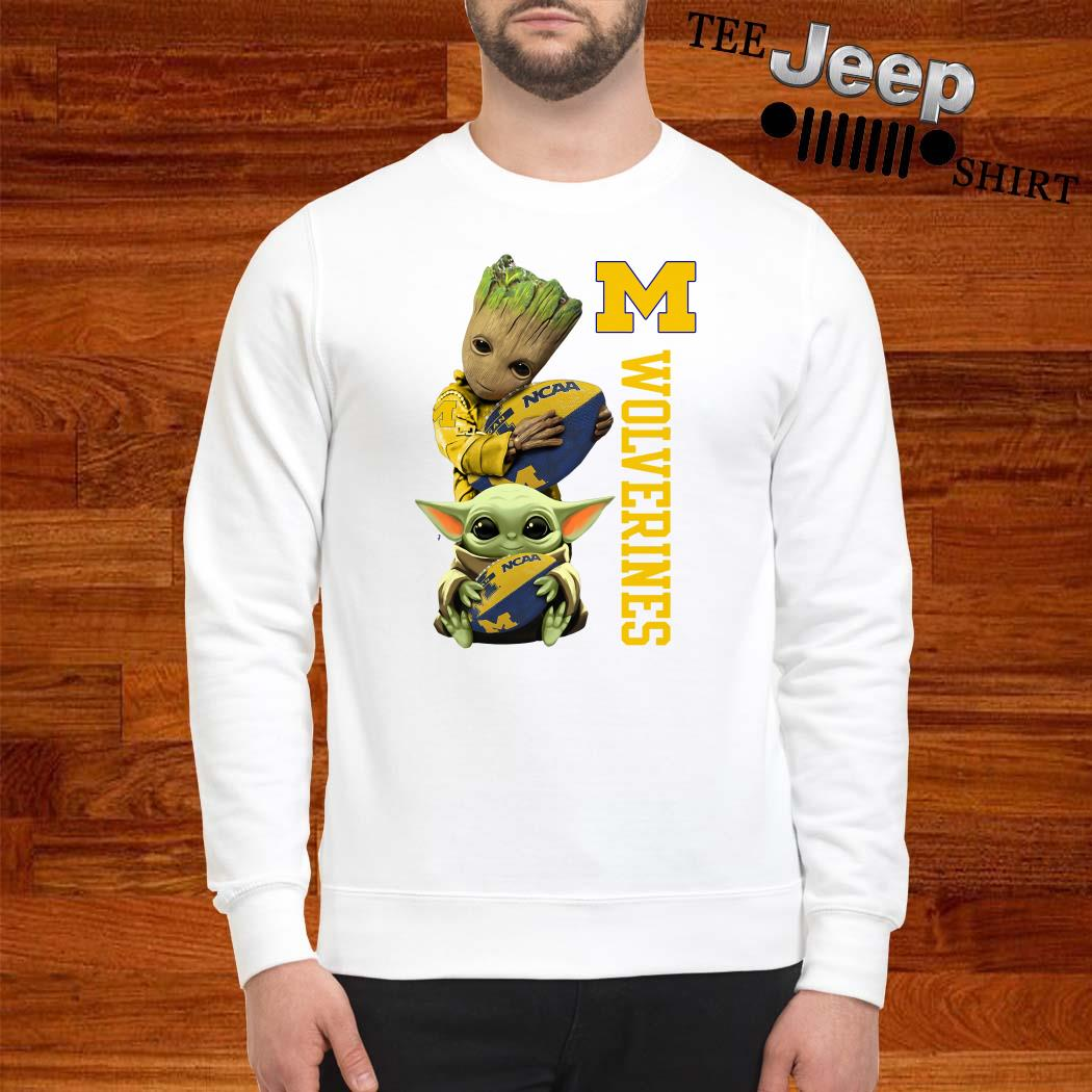 Baby Groot And Baby Yoda Hug Wolverines Sweatshirt