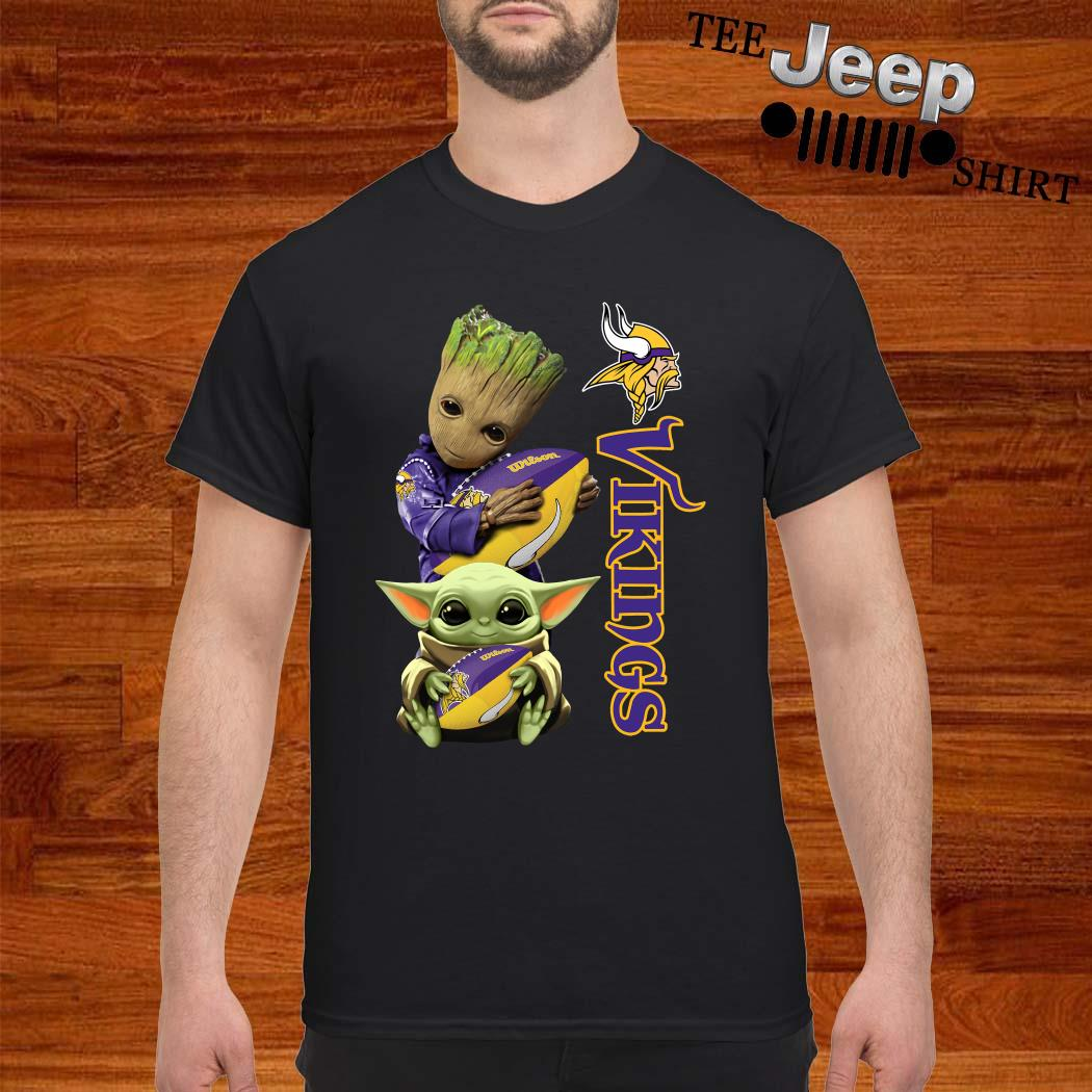 Baby Groot And Yoda Hug Minnesota Vikings Shirt