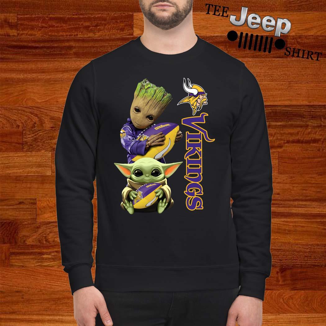 Baby Groot And Yoda Hug Minnesota Vikings Sweatshirt