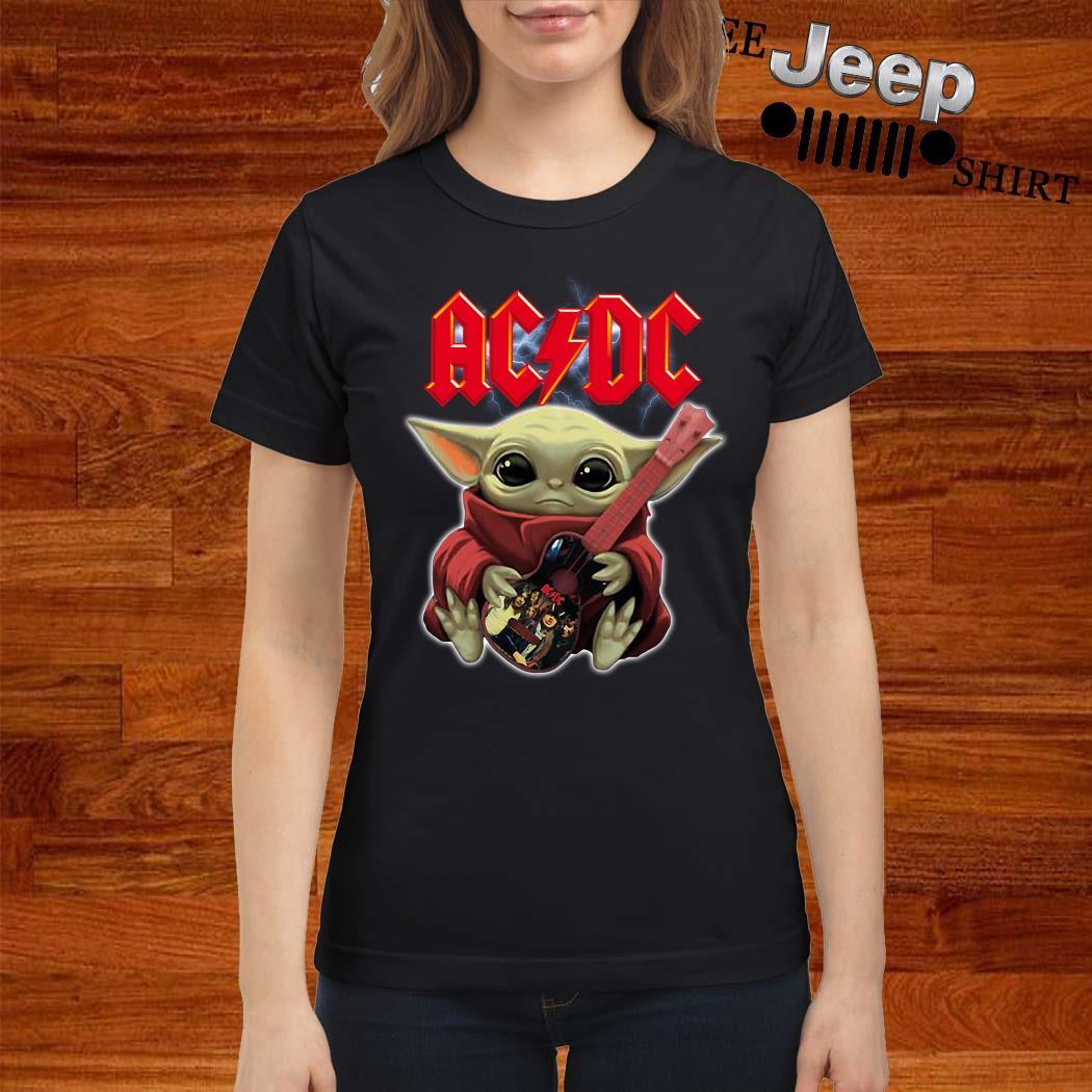 Baby Yoda Hug ACDC Guitar Ladies Shirt