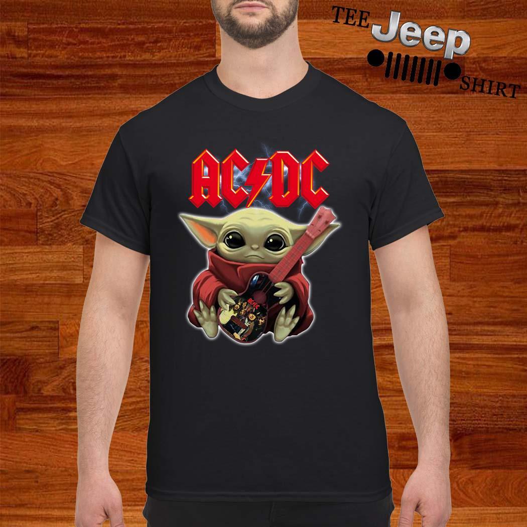 Baby Yoda Hug ACDC Guitar Shirt