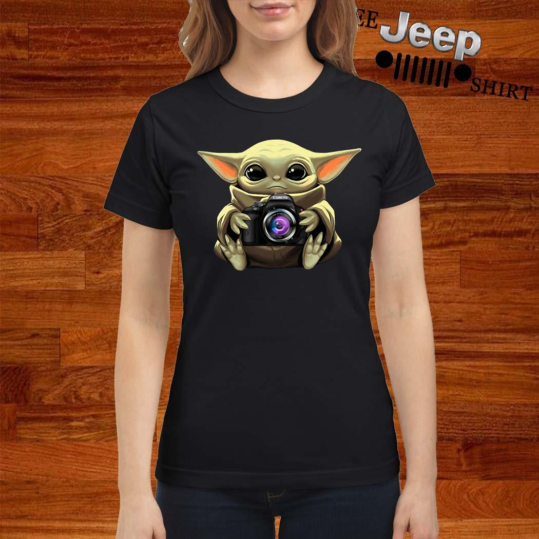 Baby Yoda Hug Camera Ladies Shirt