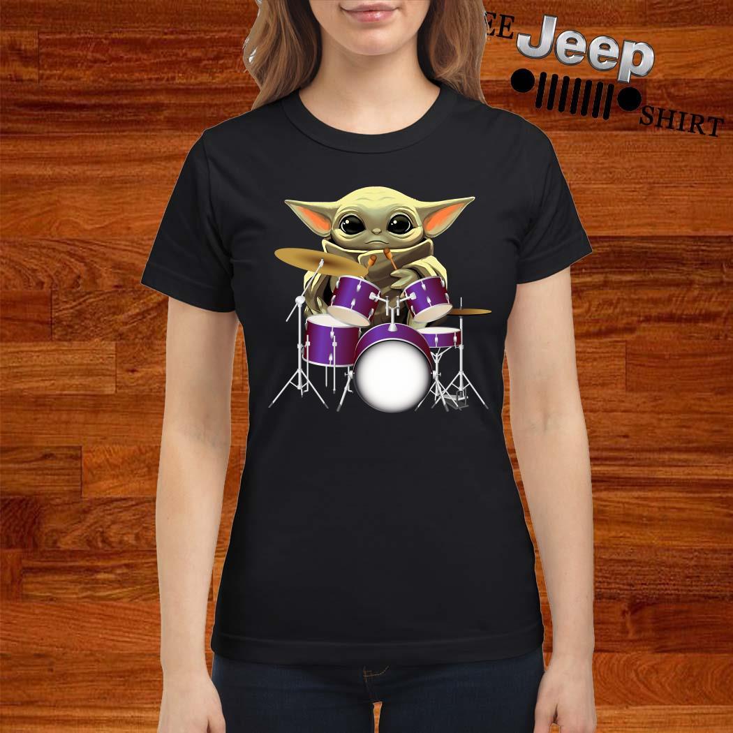 Baby Yoda Hug Drummers Ladies Shirt